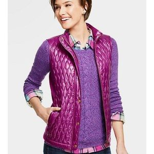 Talbots Quilted ribbed puffy vest purple pink